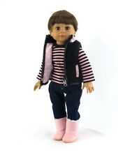 """Pink and Black Heart Pant Set 18"""" doll clothes fits American Girl AG"""