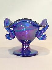 Fenton Cobalt Blue Carnival Double Dolphin Handle Footed Compote