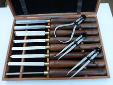 Quality Wood Turning Chisels, Brass Ferrules, Walnut Handles + Spring Calipers