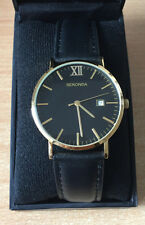 Sekonda Gents Black and Gold Leather Strap Watch Brand New Water Resistant