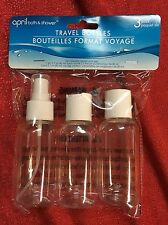 3pc TRAVEL Set 2 BOTTLE 1 SPRAY Vacation TSA Airplane Approve Carry On Container