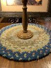 Vintage Handmade Braided Chair Pad~Table Rug~Candle Rug~Centerpiece~Country Blue