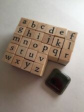 ALPHABET STAMPING SET-26 SMALL LETTERS WOODEN STAMPS-LOWER CASE-1CM-MINI INK PAD