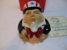 Vintage KEVIN FRANCIS Face Pots Hand Made England Signed UNCLE SAM 2001 In Box