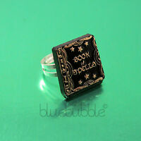 FUNKY BOOK OF SPELLS RING HALLOWEEN FANCY DRESS KITSCH GOTHIC HORROR WITCH EMO