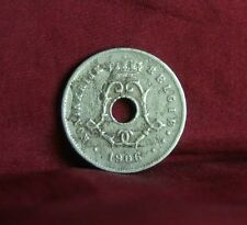 1906 Belgium 5 Centimes Copper Nickel World Coin Belgie five Cent Crown Monogram