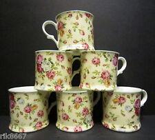 Set Of 6 Rose Basket Cream English Fine Bone China Mugs Cups By Milton China