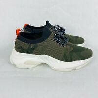 Steve Madden Green Camo Print Sneakers Size 7.5 Orange Back Stripe