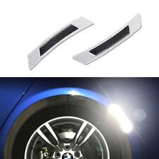 2x Carbon Fiber White Car Wheel Rim Reflective Wheel Eyebrow Protection Stickers