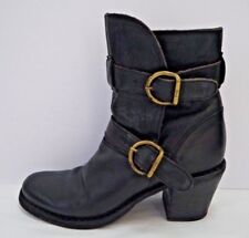 FIORENTINI + BAKER black leather 2-strap chunky heeled ankle boots Italian 36