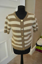 Women's Mulberry striped wool cardigan with gold buttons. Size XS