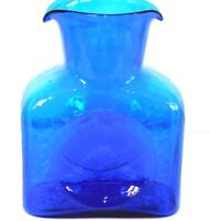 Vintage BLENKO Wavy Cobalt Blue Art Glass Square Double Spout Water Pitcher