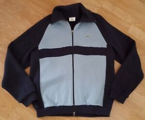 Lacoste Jumper Cotton Rich Zip Navy Striped Size 5