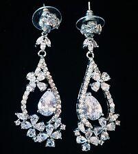 EARRING using Swarovski Crystal Dangle Drop Wedding Bridal Rhodium Silver SW46