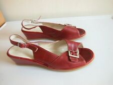 NEW CAPOLLINI COMFORT RED LEATHER SLINGBACK OPEN TOES SANDALS/SHOES WEDGE HEEL 6