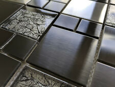 NEW LUXURY BRUSHED STEEL METAL & FOIL GLASS SILVER GREY MOSAIC TILES 8MM RRP £16