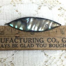 Vintage 925 Sterling Silver Abalone Fish Pin Brooch MCM Mexico Christian