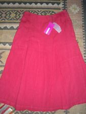 BACK STAGE (OSKA) SKIRT, FULLY LINED, SIZE MEDIUM, 100% THICK LINEN, RUBY RED