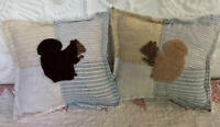 NEW Pair Of Handmade Squirrel Pillow Tucks Vintage Quilt Chenille Bedspread Fall