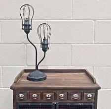 Caged Iron LED Light Industrial Vintage Warehouse Style Tall Table Lamp Desk