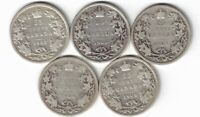 5 X CANADA 25 CENTS QUARTERS KING EDWARD VII STERLING SILVER COINS 1902 - 1905