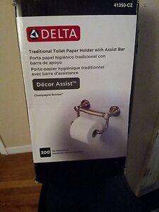 Delta Faucet 41350-CZ Traditional Tissue Holder&Assist Bar