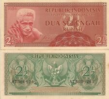 Indonesia P75, 2 1/2 Rupiah, white-haired man / eagle arms 1956, UNC