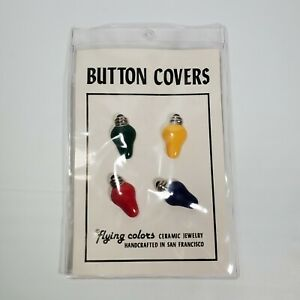 VTG Flying Colors Ceramic Jewelry Button Covers Christmas Lights San Fran USA