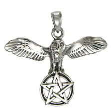 Sterling Silver Owl Pentacle of Wisdom Pendant Wiccan Pagan Pentagram Jewelry