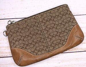 COACH Khaki Brown Signature WRISTLET PURSE Wallet