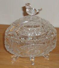 "Hofbauer German crystal glass candy dish  footed w/Bird Byrdes Handle 6""H"