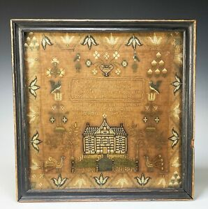 Antique Needlework Sampler with House Birds and Flowers Dated 1796
