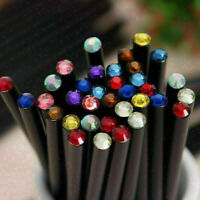12PCS Black Wood HB Pencil With Colorful Diamond School Writing Pencils K0R W3P5