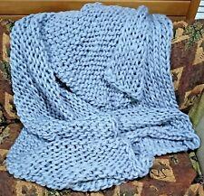 "Bulky Chunky Knit Blanket ~ Merino Wool ~ 80"" x 74"" Hand Knitted Light Gray New"