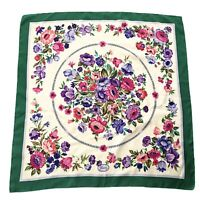 Vintage Gucci Square Silk Scarf Floral Green 34x34in Authentic