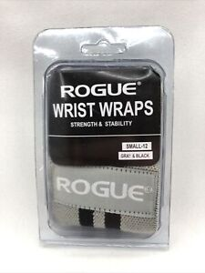"""Rogue Fitness Wrist Wraps PAIR SMALL 12"""" Black Gray Power Weightlifting Exercise"""