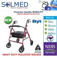 DAYS PREMIUM MOBILITY ROLLATOR HEAVY DUTY SEAT WALKER RED 158KG