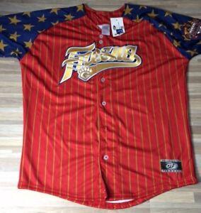 Fresno Grizzlies Stars & Stripes Jersey Men's Size LARGE Astros Authentic NEW!