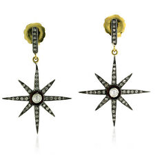 0.88ct Natural Diamond Starburst Earrings 14k Gold 925 Silver Handmade Jewelry