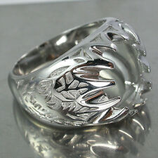 Perfect! Big For men Sterling Silver925 Semi Mount 14x10mm Ring Setting #12(US)