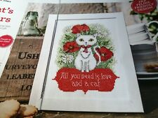 CROSS STITCH CHART ALL YOU NEED IS LOVE & A CAT CHART ONLY POPPY CUTE KITTY