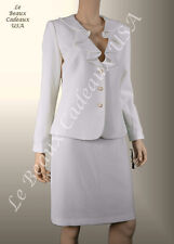 TAHARI Women Skirt Suit SIZE 6 IVORY OFF-WHITE Two-Piece CASCADE Dressy $280 LBC