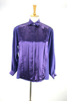 Vtg Escada 100% Silk Pleated Front Purple Blouse 34