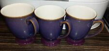 3 x Denby Storm Footed Plum Mugs. Pre used -in excellent condition-no flaws