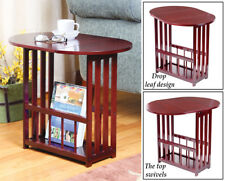 Mission Style Mahogany Finish Wood Drop-Leaf Home Accent Table w/ Magazine Rack