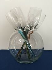 7 PIECE Multi Color Footless Champagne / Wine Flutes Glasses Excellent Condition