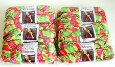 Red Heart Yarn Boutique Ribbon Yarn 6 Balls Flourescent Lot Sale NEW