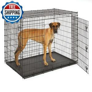 "XXL Dog Wire Metal Cage Crate Kennel Dog Pet Double Door Heavy Duty Black 54""L"