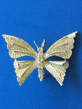 Butterfly Brooch Pin Signed Gerry's Clear Rhinestones Gold Tone