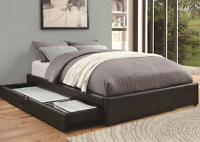 NEW CONRAD BLACK BYCAST LEATHER QUEEN SIZE PLATFORM BED w/ STORAGE DRAWER